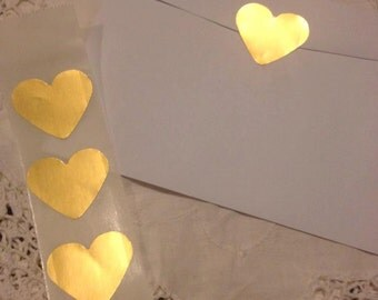 Heart Seals - Large Metallic Gold Heart Envelope Seals For Wedding And Events - Sweet Love stickers x 25