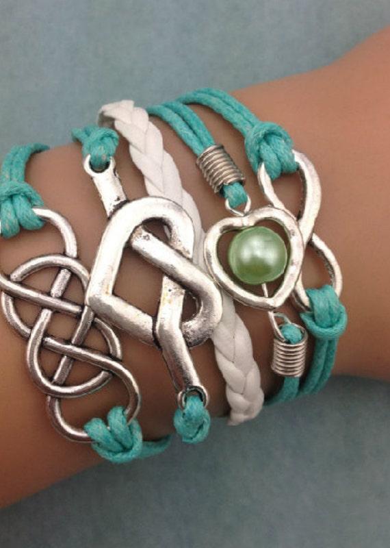 Infinity bracelet turqouise bracelet love bff by 525chicstreet