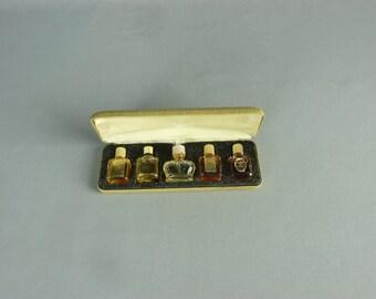 Vintage Miniature Perfume Bottle Set in a Case
