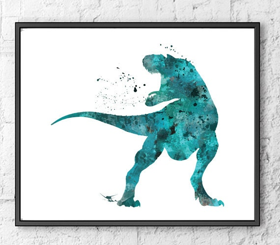 T rex watercolor print dinosaur art dinosaur by gingerkidsart for T rex bedroom decor