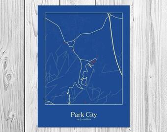 Park City, Utah city map fine art print