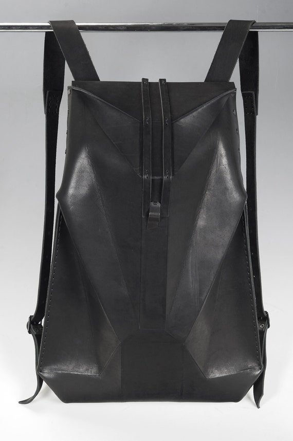 Black Leather Backpack GEO GRANITE