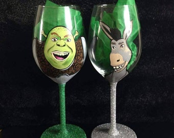 Shrek wine glass
