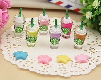 6pcs Resin Starbucks Coffee cup(30mmx13mm)Miniature Starbucks Multicolor Cabochon Decoden Jewelry Making Accessories/DIY Deco Den/Decoration