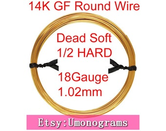 "18 Gauge .040"" 1.02mm Dead Soft / Half Hard Round Wire 14K Yellow Gold Filled Wholesale BULK DIY Jewelry Findings 1/20 14kt GF"