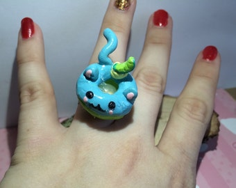 Cute blueberry lime cat donut ring