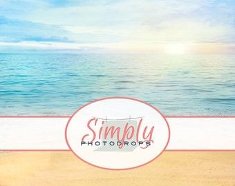 NEW Wrinkle Free, GLARE Free FABRIC,Beach, Photography Backdrop