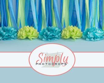Vinyl Backdrop, Birthday Blue Seamless ALL IN ONE vinyl Photography Backdrop