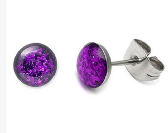 Pair Of Purple Glitter Earrings Made Entirely of Surgical Steel.