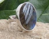 Handmade Labradorite Ring - Natural Gemstone Ring - Oval Cabochon Stone Ring - Sterling Silver Ring - Silver Bezel Setting Ring - AJR-0136