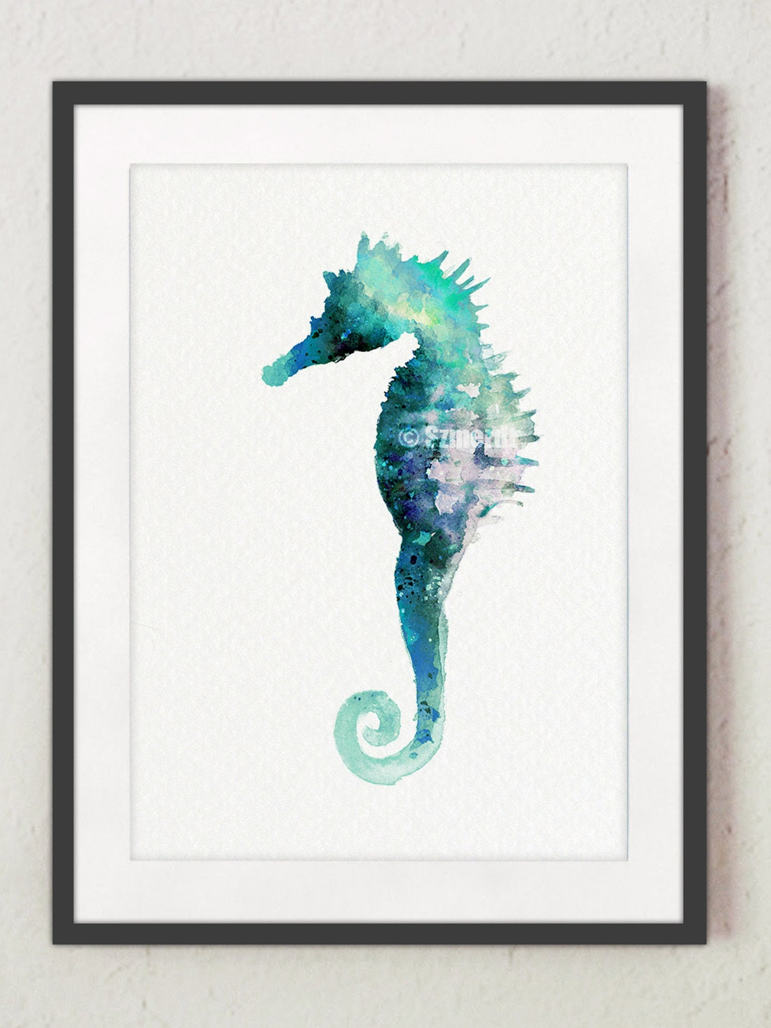 Seahorse painting turquoise wall decor sea life art print for Turquoise wall decor