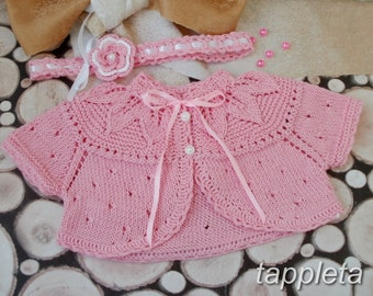 baby bolero, baby jacket, knitted Bolero, for girls 0-18 months, baptism, 5 colors, cotton baby, knitted jacket for summer, short sleeves