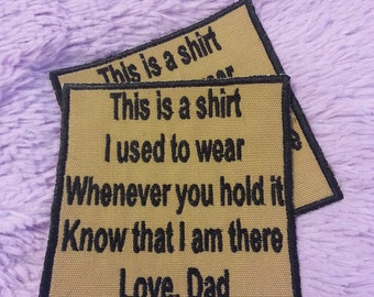 Memory Shirt Pillow PATCH! ONE Embroidered Iron on Patches Customized to your Loved One! Love Mom, Dad, Grandma, Grandpa, Custom Name!