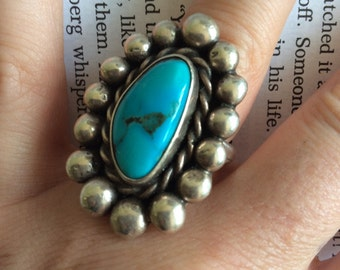 Vintage Genuine Silver Large Turquoise Ring