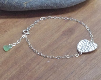 Textured Heart Bracelet with Beach Glass charm, fine silver, silver bracelet, sea glass bracelet, beach glass bracelet, cornish jewellery
