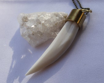 WHITE BONE HORN brass necklace