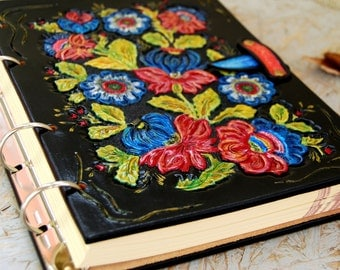 Floral Leather Journal, Handmade Leather Journal, Personalized Journal, Leather Notebook, Leather Diary, Gift for Her, OOAK
