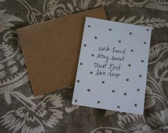 Work Hard confetti notecards