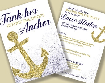 Bachelorette Invitations, Nautical Bachelorette Invitations, Bachelorette Party Itinerary, Anchor Bachelorette Invitations