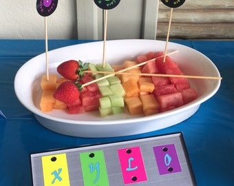 Music themed birthday party table decorations - food labels