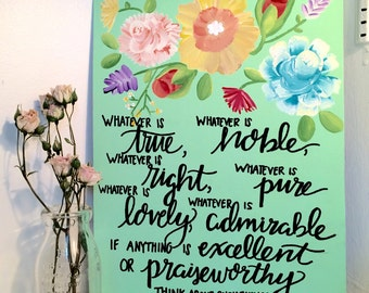 Philippians 4:8 Mint Green 11x14 Floral Canvas || Christian Painting, Christian Art, Quote Canvas, Bible Verse Panting