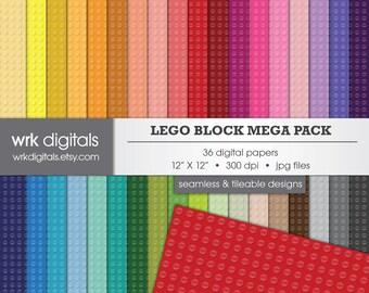 Lego Block Background Mega Pack Seamless Digital Paper Pack, Digital Scrapbooking, Instant Download