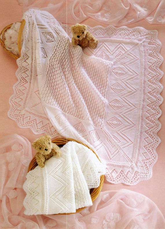 Knitting Pattern Baby Blanket 4 Ply : Knit Baby 3 and 4 ply Shawls Vintage Knitting by VintagePatternPDF
