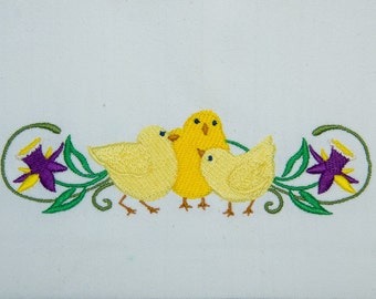 Spring Chickies and the Spring Flowers Machine Embroidered on Tea Towels
