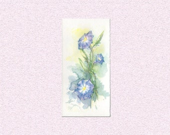 Watercolor painting Morning Glory blooming flowers Original art blue green plant illustration