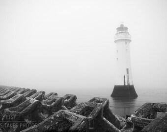Lighthouse canvas art, black and white photography, nautical decor, seascape, fine art photography, oversized art, gallery canvas wrap,large