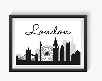 London Black and White Print