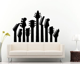 Guitar Griffs Electric Acoustic Musical Instrument Guitar Wall Decal Vinyl Sticker Mural Room Decor L716