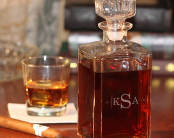 Monogram with Arrows Glass Whiskey Decanter - (g101-1209-1) - Free Personalization