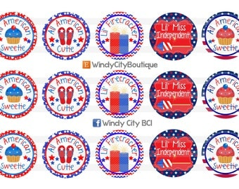 4th of July Bottle Cap Images, Independence Day Bottle Cap Images
