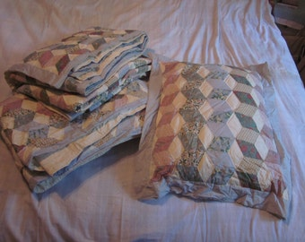 set of - Large Vintage Quilt (2) with Pillow (1)