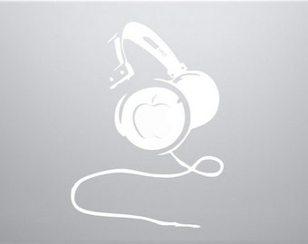 "White Headphones 13"" 15"" Apple Laptop Macbook Air Pro - Vinyl Decal Sticker USA SELLER"