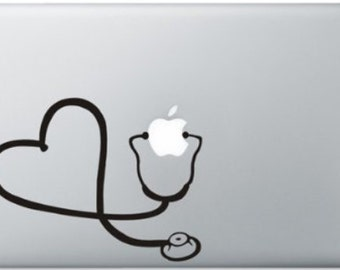 "Heart Stethoscope 13"" 15"" Apple Laptop Macbook Air Pro Vinyl Decal Sticker - USA SELLER"