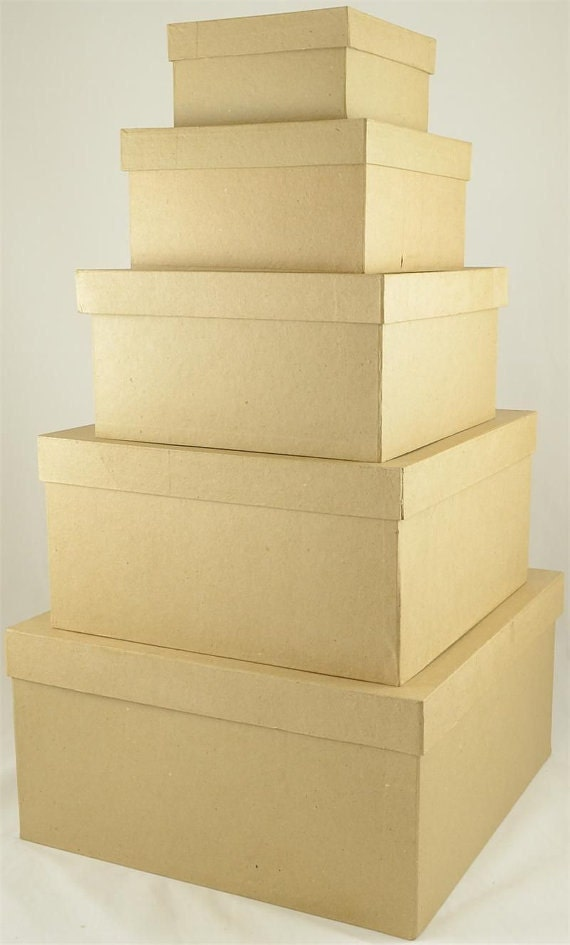 5pcs large paper mache nested box set 5 8 9 10 12 14 for Craft paper mache boxes