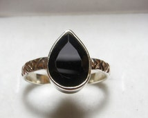 Black Spinel Ring Faceted Pear Cut  Ring So Nice Black  Color Ring Bezel Ring Silver Ring