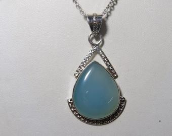 Aqua Blue Chalcedony pendant - Natural  Color Pendant Pear shape Pendant designer pendant jewelry pendant Gift Items pendant