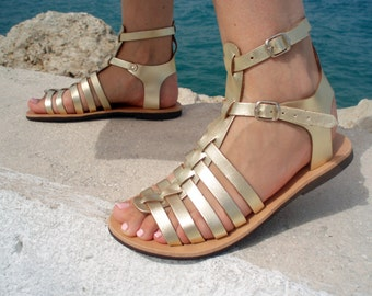 Barefoot Handmade Leather Gladiator Sandals, Full Grain Leather Women Sandals Gold color