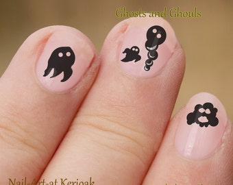 Ghost and Ghoul Nail Art, Ghost Art Stickers, fingernail stickers, nail decals, halloween nail art, creepy, decal, black, cartoon, variety