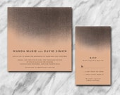 Moody wedding invitation 2 pc suite with black shadowing on a pretty nude background.
