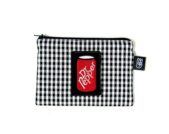 Black and White Gingham Check Coin Purse, Credit Card Purse, Small Zip Pouch,Card Pouch with Dr. Pepper Patch