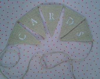 Hessian Bunting, Burlap Bunting, CARDS bunting, wedding bunting