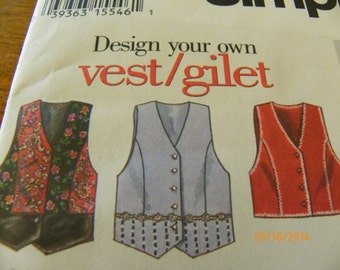 Vintage 1994 Simplicity 9058 Sewing Pattern Misses' Lined Vest With Variations, Size P 12, 14, 16