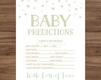 Baby Prediction Card Mint Gold Hearts / Gender Neutral Baby Shower Game / Mint Gold Baby Shower Game / Printable Digital / INSTANT DOWNLOAD
