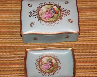 Vintage Lefton China Victorian Cigarette Box with Ashtray Numbered 1543