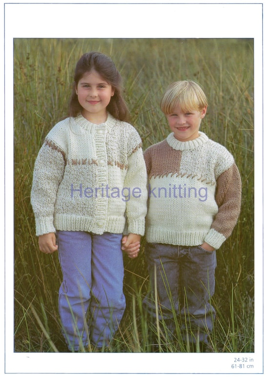 Knitting Pattern For Childs Chunky Cardigan : boys girls child chunky sweater and jacket knitting pattern