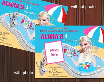 Disney Frozen Birthday Invitation. Disney Frozen Pool Party Invitation. Digital (you print) With or Without Photo
